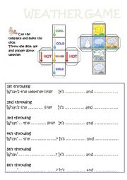 English Worksheet: Weather DICE game