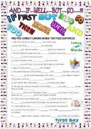 English Worksheet: Linking words /gap filler with key