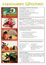 English worksheet: Five Witches for Halloween