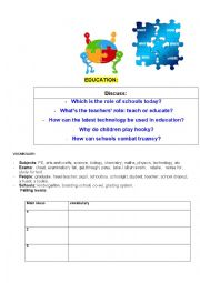 English Worksheet: Jigsaw reading on Education
