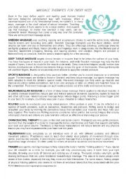 English Worksheet: Massage Therapies for every need