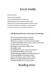 English Worksheet: social networks