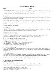 English Worksheet: FCE Article Writing Preparation