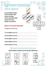 English Worksheet: Winter clothes DICE game