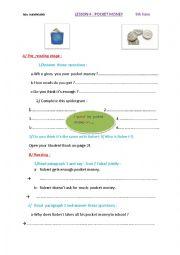 English Worksheet: Lesson 4 : pocket money