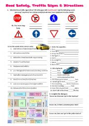 Road safety, traffic signs, prepositions and directions