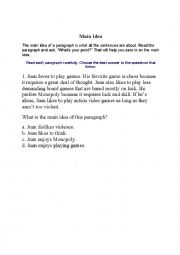 English Worksheet: Main Idea Task Cards