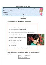 English Worksheet: English Written Test on Personal Identification: 6th Form