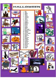 English Worksheet: Scary Halloween matching  part 2 of a 3 set exercise