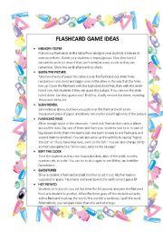 English worksheet: FLASHCARD GAMES IDEAS :-)