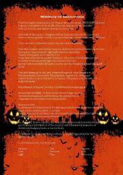 English Worksheet: Halloween easy Story