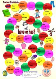 English Worksheet: Have or has for kids-Game-Editable-Including body parts, school objects, pets, toys...