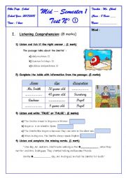 English Worksheet: 8 TH FORM -- MID SEMESTER 1 TEST N 1 (LISTENING PART)