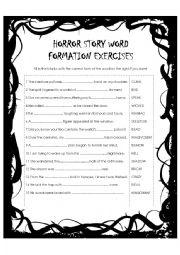 English worksheet: Horror Story Word Formation Exercise