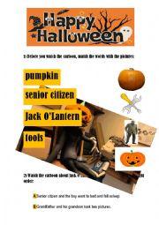 English Worksheet: JACK O�LANTERN: HALLOWEEN STORY