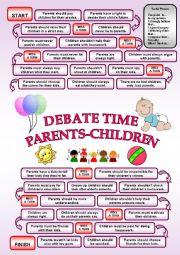English Worksheet: DEBATE TIME - Parents-Children