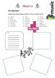 English Worksheet: Music vocabulary