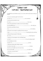 English worksheet: Horror Story Sentence Transformations