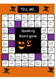 English Worksheet: Speaking Board game Tell me *60 min activity*