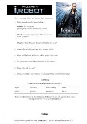 English Worksheet: I,Robot (2004) FILM worksheet