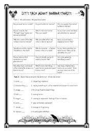 English worksheet: LET´S TALK ABOUT HORROR STORIES