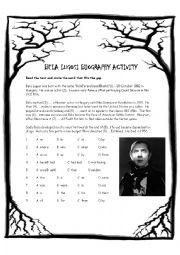 English worksheet: Bela Lugosi Biography Activity
