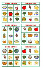 English Worksheet: Bingo food