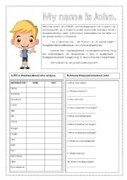 English Worksheet: My name is John and What is your name?