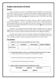 English Worksheet: END OF TERM 1 FOR 9TH  READING+LANGUAGE AND WRITING