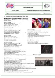 English Worksheet: Listening Comprehension Activity: Miracle (Someone special) by Coldplay