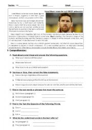 English Worksheet: Test: Reading Comprehension