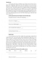 English Worksheet: 7th grade test 1st term
