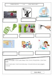English Worksheet: save the planet. ways to save energy