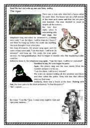 English Worksheet: Halloween scary funny story. The Viper