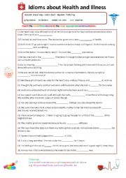 English Worksheet: Idioms of Health and Illness