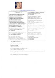 English Worksheet: You belong with me song