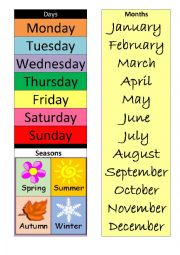English Worksheet: months, days and seasons poster for the classroom