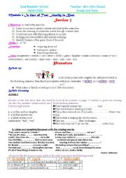 English Worksheet: LESSON PLAN UNIT 1 SECTION 2 THIRD FORM TUNISIAN PROGRAM