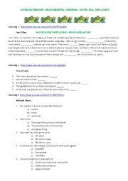 English Worksheet: LISTENIG -ENVIRONMENTAL CONCERNS � WATER, SOIL, CORAL REEFS