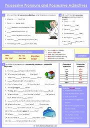 English Worksheet: Possessive adjectives and possessive pronouns