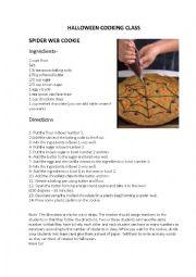 English Worksheet: Halloween cooking class
