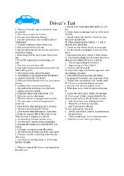 English Worksheet: driving�s license test