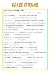 English Worksheet: FALSE FRIENDS 5