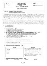 English Worksheet: First term exam 2nd year foreign languages