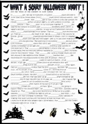 Halloween story with verbs in the present or past