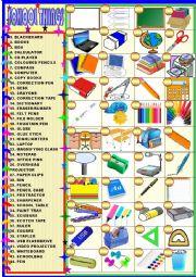 English Worksheet: School things : matching