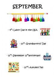English Worksheet: Classroom poster for September