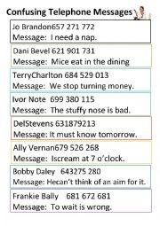 English Worksheet: Confusing Telephone Messages