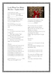 English Worksheet: Look What You Made Me Do - Taylor Swift with key