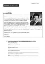 English Worksheet: Placement Test 7th